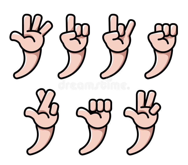Mano del fumetto di quattro dita royalty illustrazione gratis