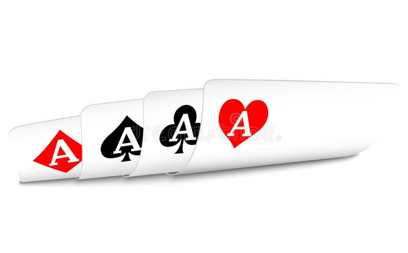 Mano del ganador del póker de cuatro tarjetas que juegan de los as imágenes de archivo libres de regalías