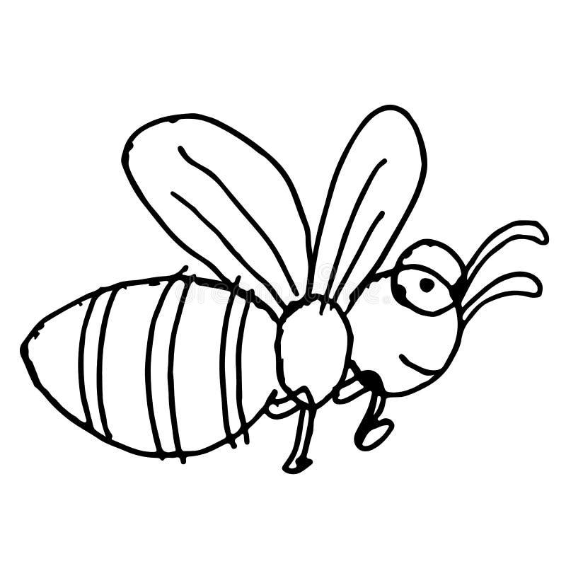 Mano del garabato de la abeja dibujada stock de ilustración