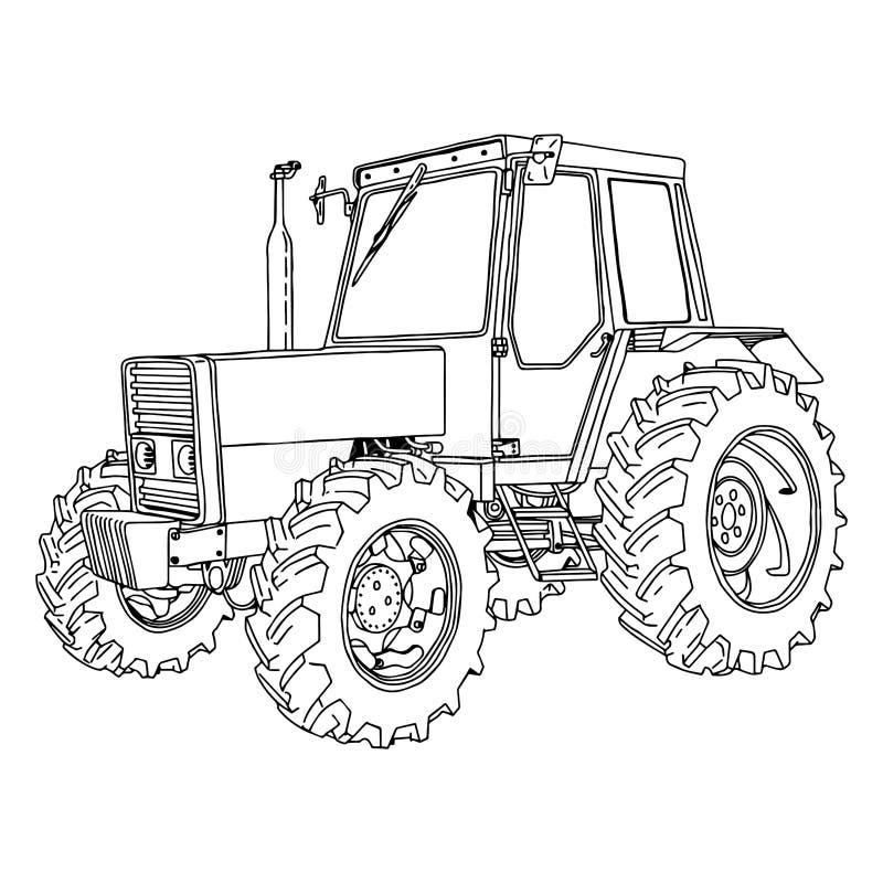 Mano del garabato del vector del ejemplo dibujada de un tractor aislado en w ilustración del vector