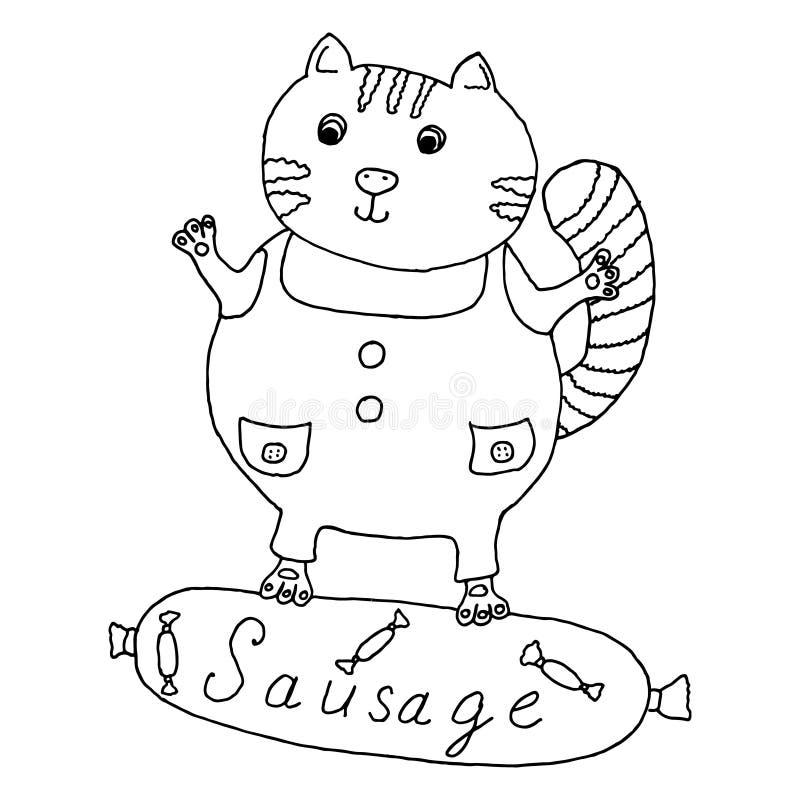 Mano del gato dibujada en la salchicha ilustración del vector