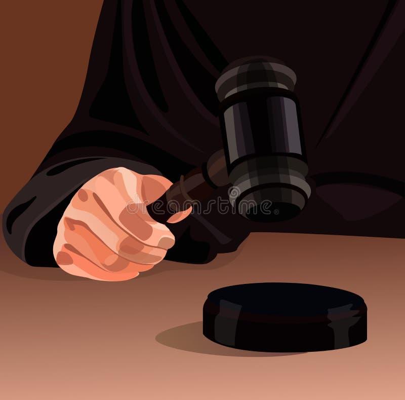 Mano del giudice con il martelletto illustrazione vettoriale