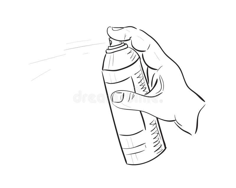 Mano del hombre con la poder del aerosol libre illustration