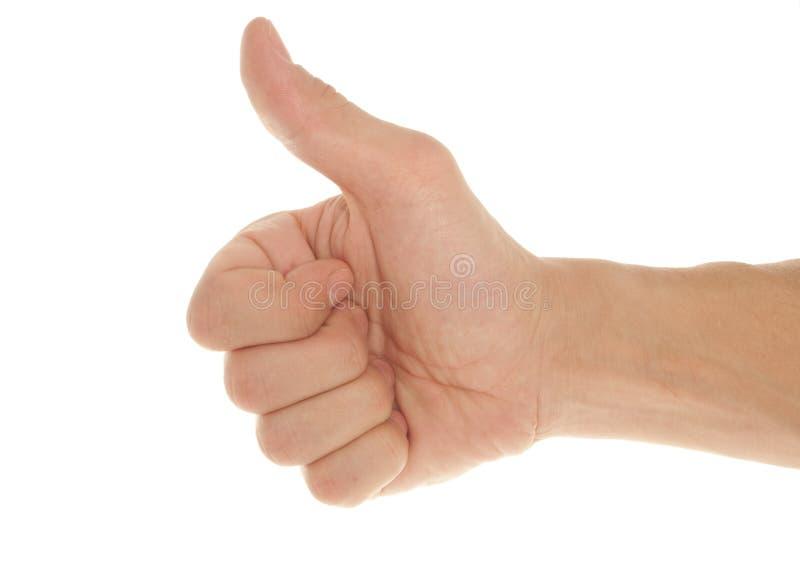 Mano del hombre con los pulgares para arriba fotografía de archivo libre de regalías