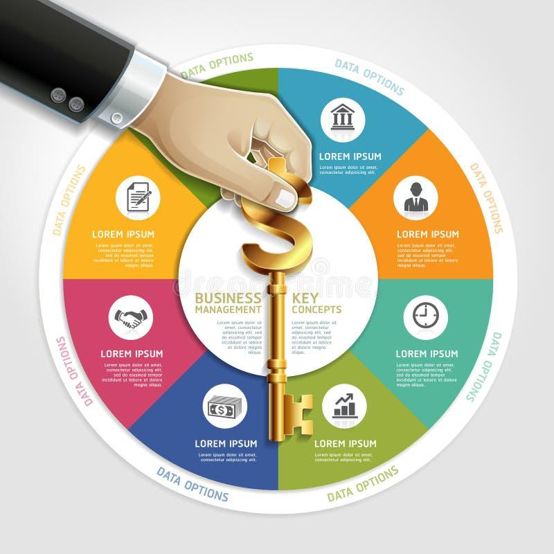 Mano del hombre de negocios con llave. stock de ilustración