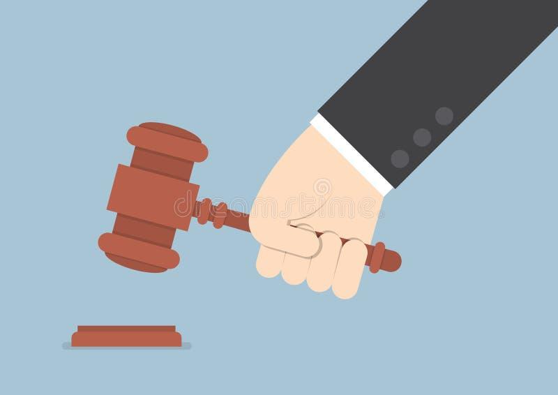 Mano del hombre de negocios que golpea el mazo del juez stock de ilustración