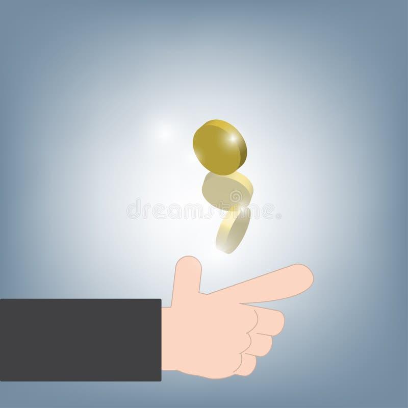 Mano del hombre de negocios que lanza las cabezas o las colas de la moneda para la decisión, ejemplo del vector en fondo plano de ilustración del vector