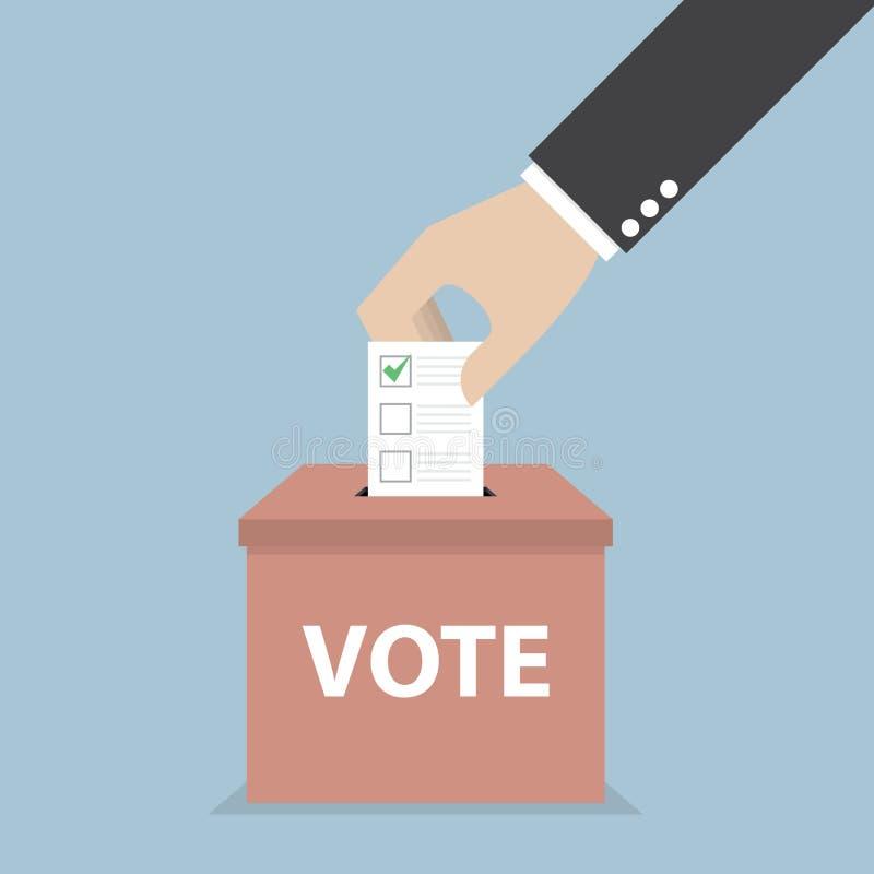 Mano del hombre de negocios que pone el papel de votación en la urna, votando stock de ilustración