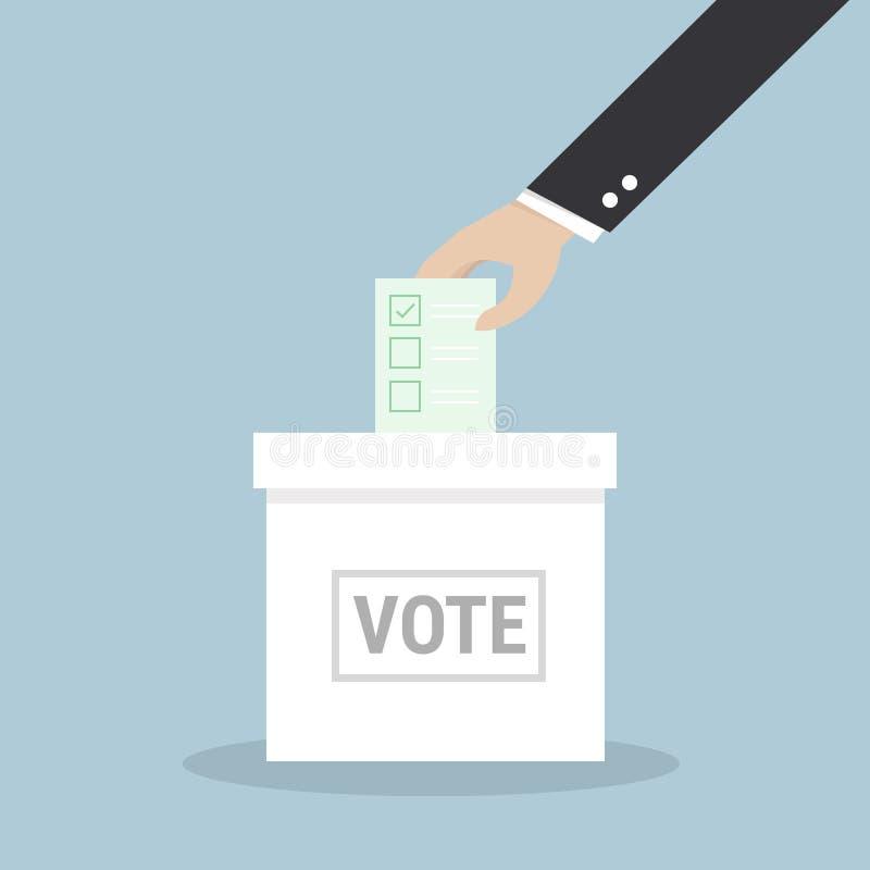 Mano del hombre de negocios que pone el papel de votación en la urna ilustración del vector