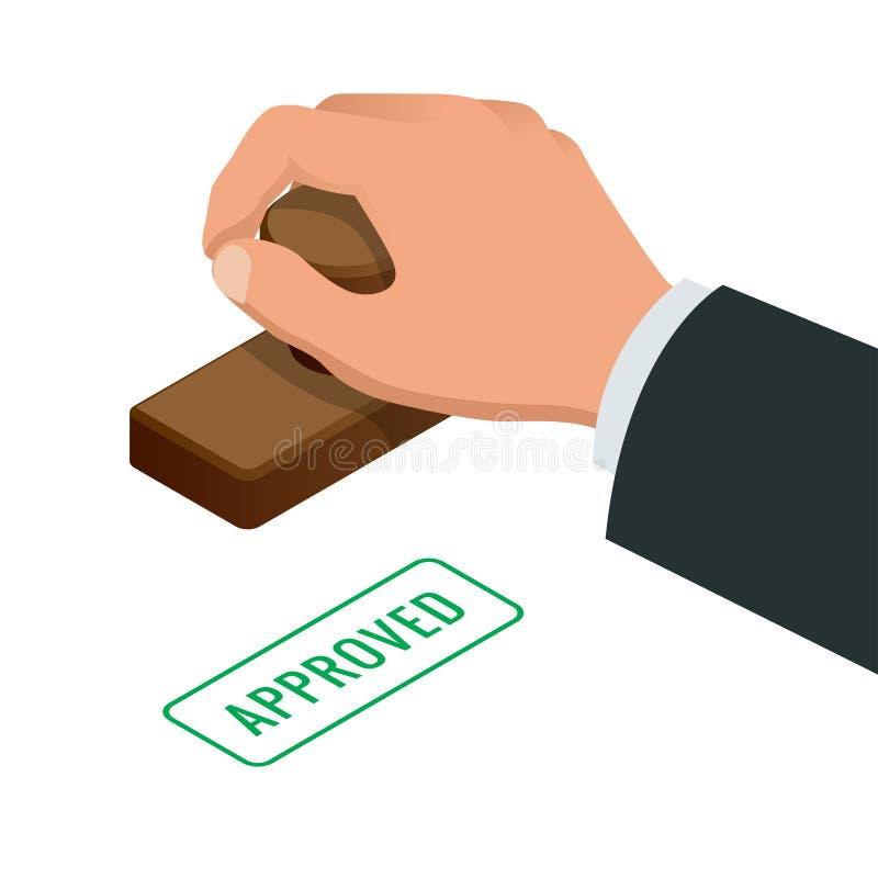Mano del hombre de negocios que sella palabra aprobada en un papel Ejemplo isométrico del vector plano aprobado del sello stock de ilustración