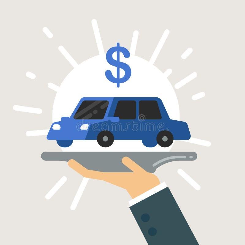 Mano del hombre de negocios que sirve el nuevo coche en la placa ilustración del vector