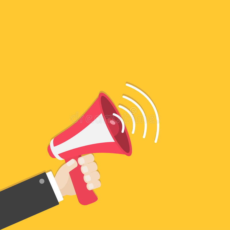 Mano del hombre de negocios que sostiene el megáfono, altavoz, icono del altavoz Símbolo de la muestra del aviso Diseño plano Col libre illustration
