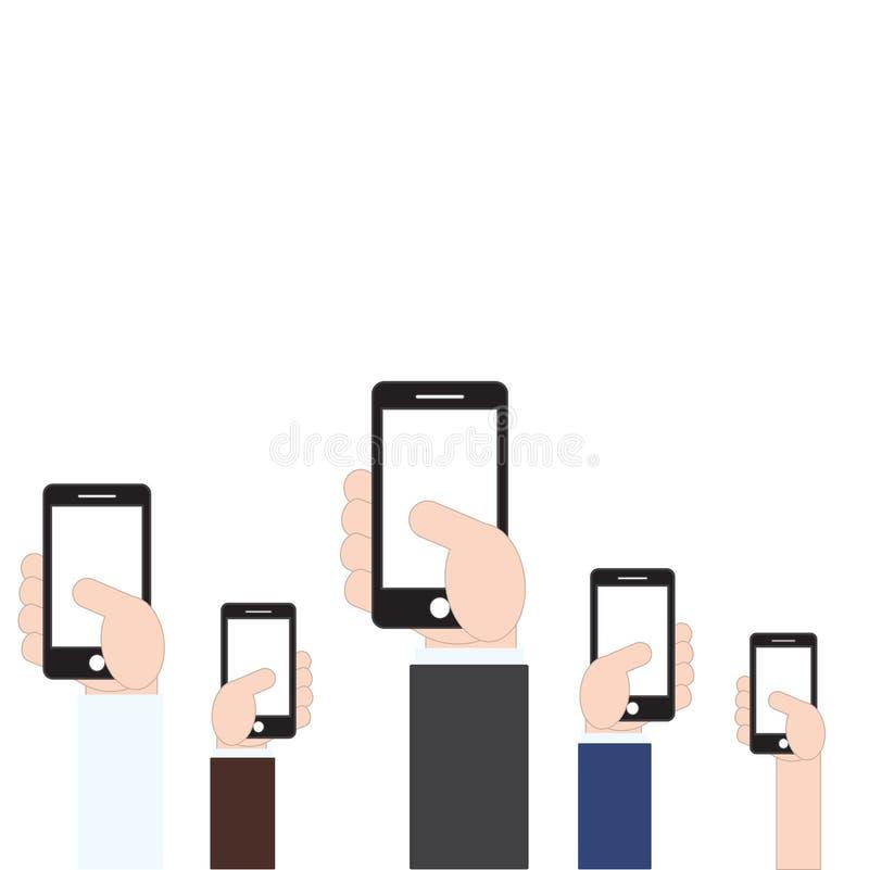 Mano del hombre de negocios que sostiene el teléfono móvil en el fondo blanco, ejemplo del vector en estilo plano del diseño stock de ilustración