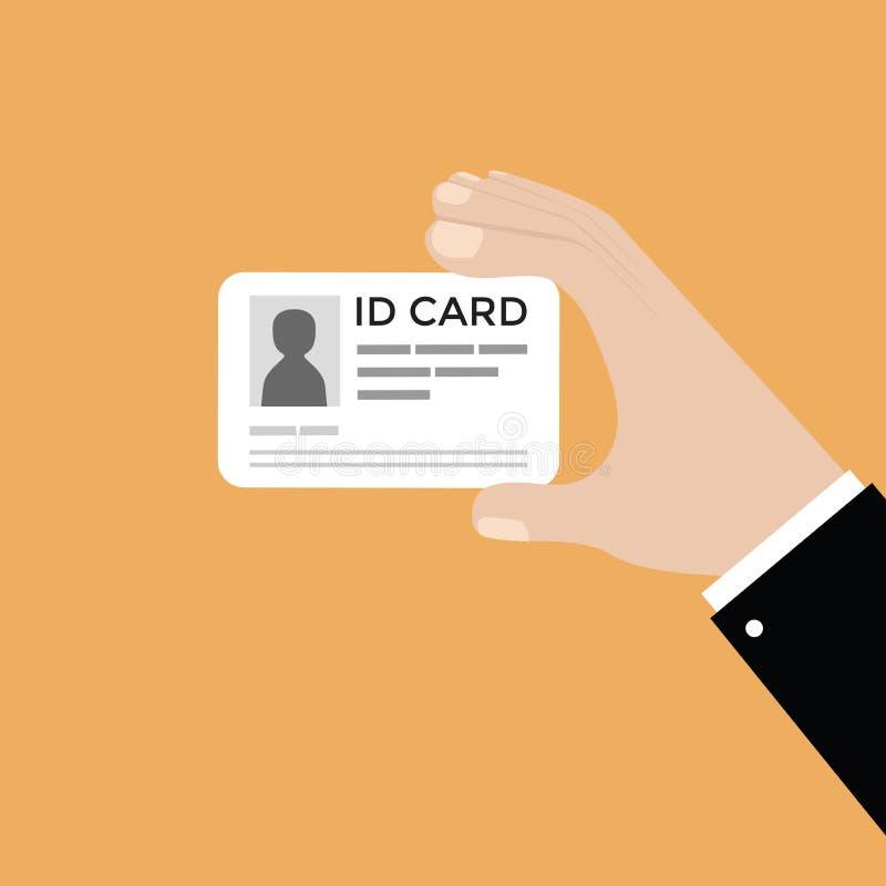 Mano del hombre de negocios que sostiene la tarjeta de la identificación libre illustration
