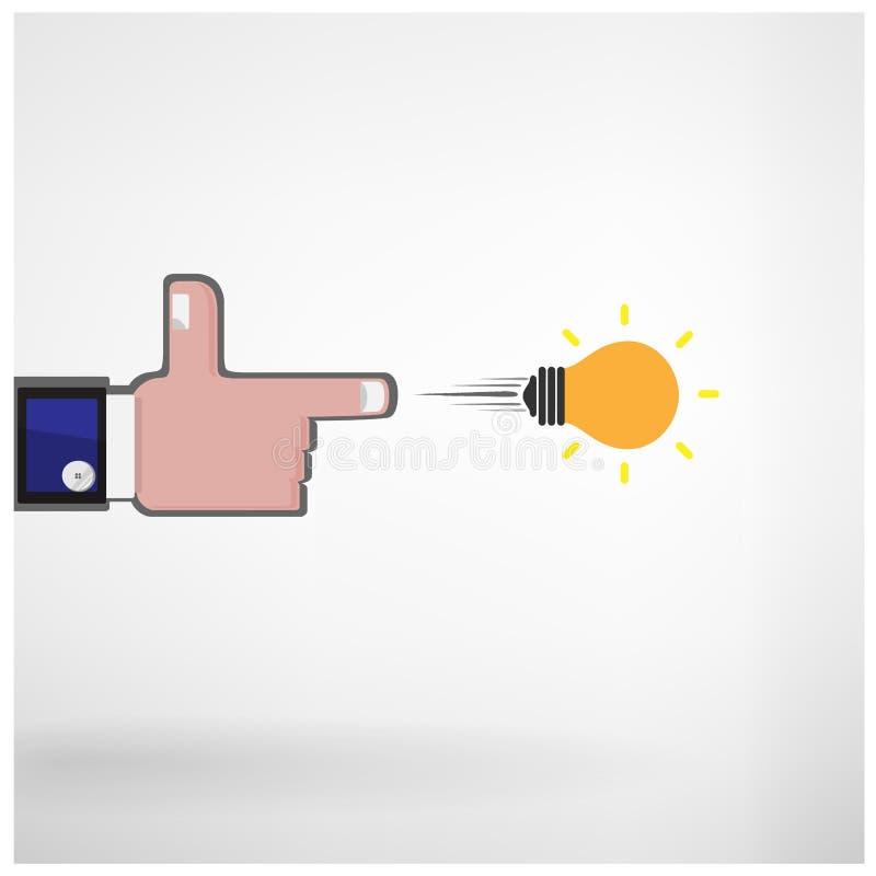 Mano del hombre de negocios que tira concepto creativo de la bombilla ilustración del vector
