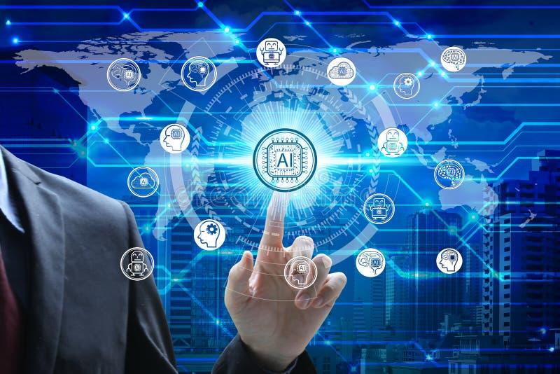 Mano del hombre de negocios que toca el icono de la tecnología de inteligencia artificial de la pantalla virtual sobre la conexió foto de archivo
