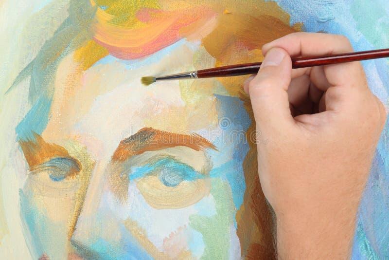 Mano del hombre que pinta el retrato abstracto ilustración del vector