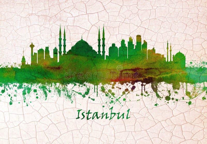 Mano del horizonte de Estambul Turquía dibujada ilustración del vector