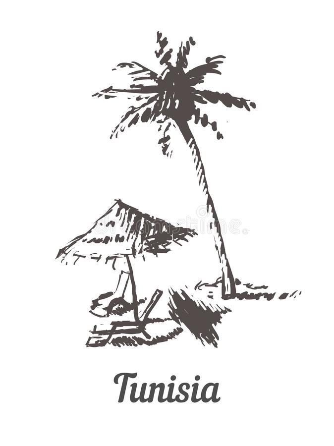 Mano del horizonte de Túnez dibujada Ejemplo del vector del estilo del bosquejo de Túnez Palm Beach ilustración del vector