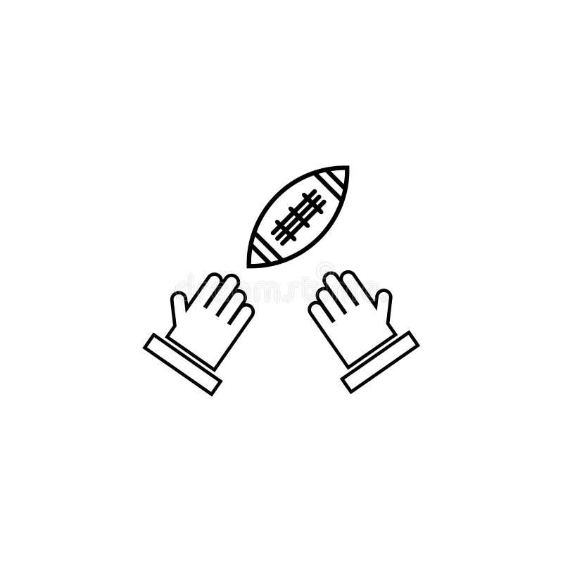 Mano del jugador de fútbol americano que lleva a cabo la muestra y el símbolo del vector del icono de la bola aislados en el fond libre illustration