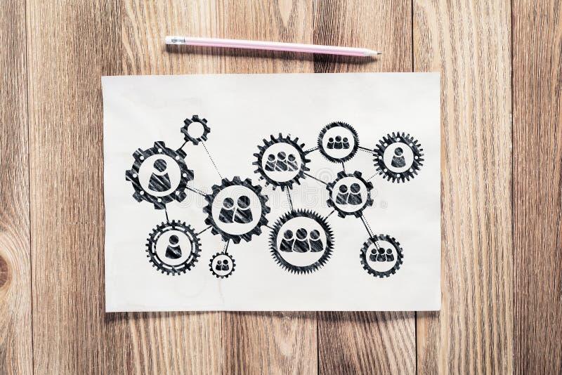 Mano del lápiz de la gestión del proceso del negocio dibujada imagenes de archivo