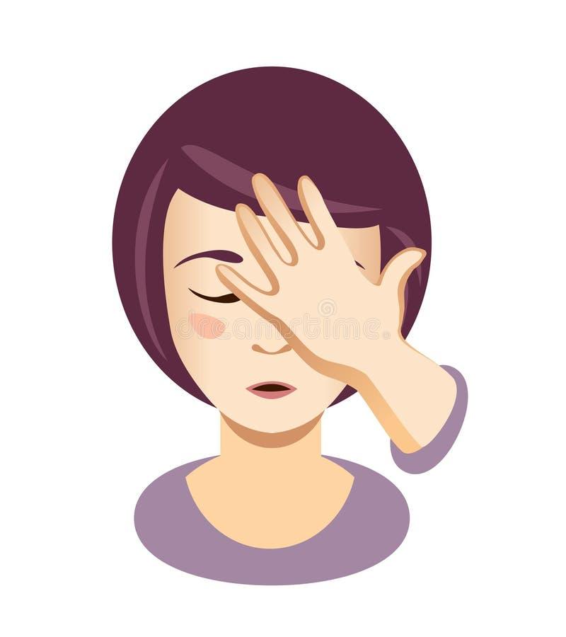 Mano del lugar de la mujer en la cabeza palma de la cara Muchacha emocional libre illustration