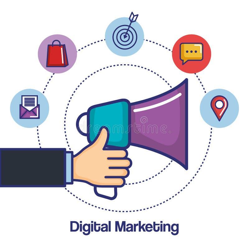 Mano del márketing de Digitaces que lleva a cabo iconos de los medios del app del megáfono libre illustration