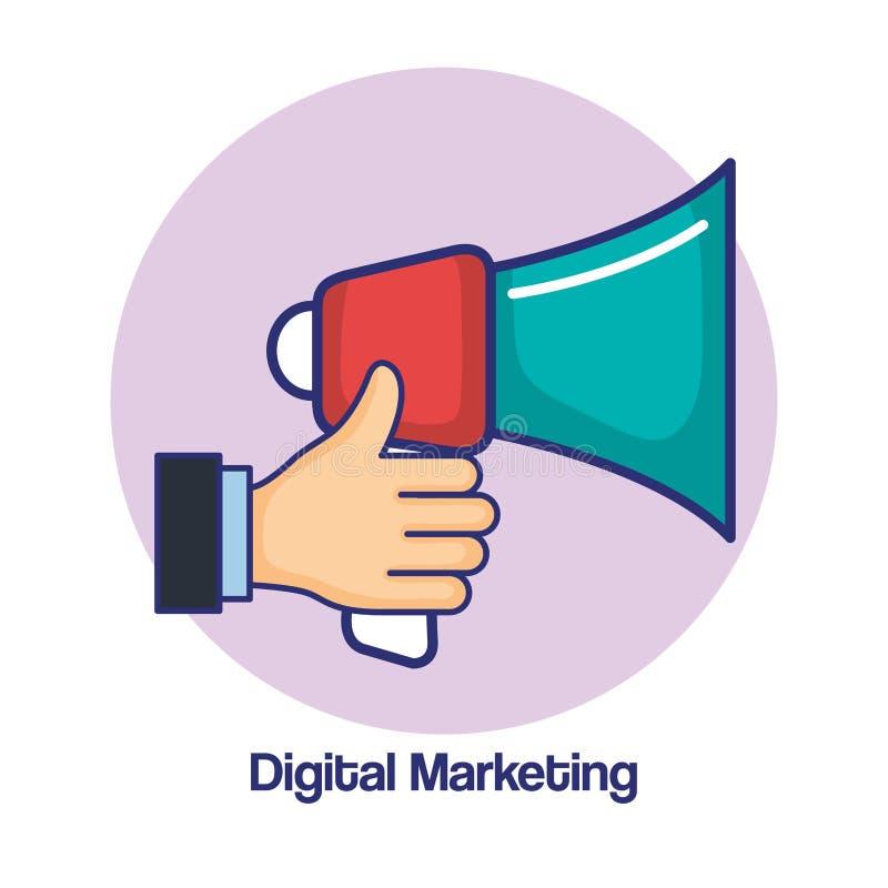 Mano del márketing de Digitaces que lleva a cabo la publicidad del altavoz stock de ilustración