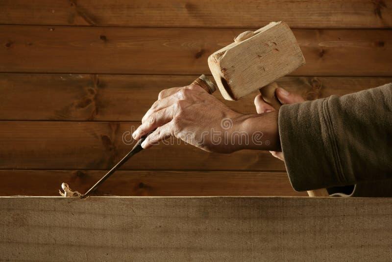 Mano del martello dello strumento del carpentiere dello scalpello da legno della sgorbiatura fotografia stock