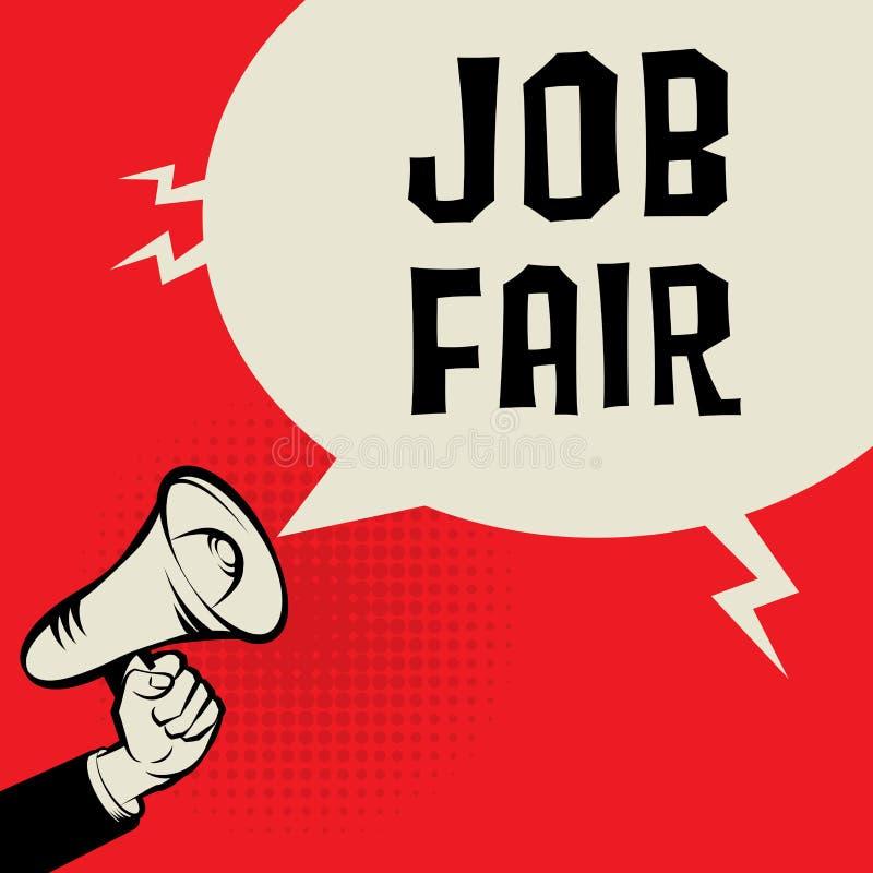 Mano del megáfono, concepto del negocio con el texto Job Fair libre illustration