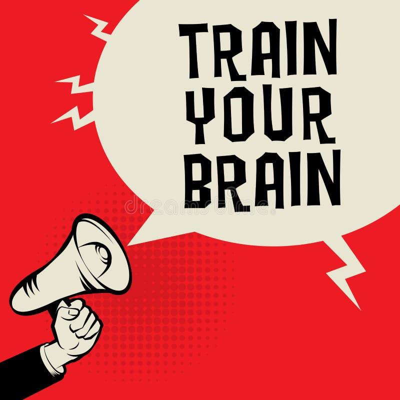 Mano del megáfono, concepto del negocio con el tren del texto su cerebro stock de ilustración