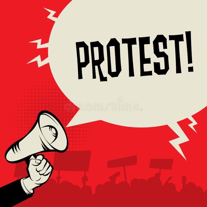 Mano del megáfono, concepto del negocio con protesta del texto libre illustration