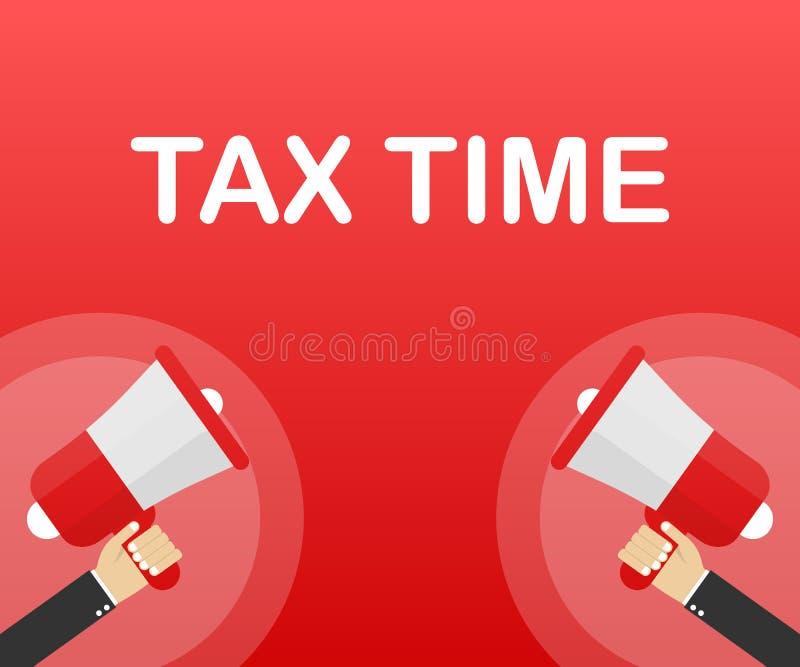 Mano del megáfono, concepto del negocio con tiempo del impuesto del texto Ilustración del vector stock de ilustración