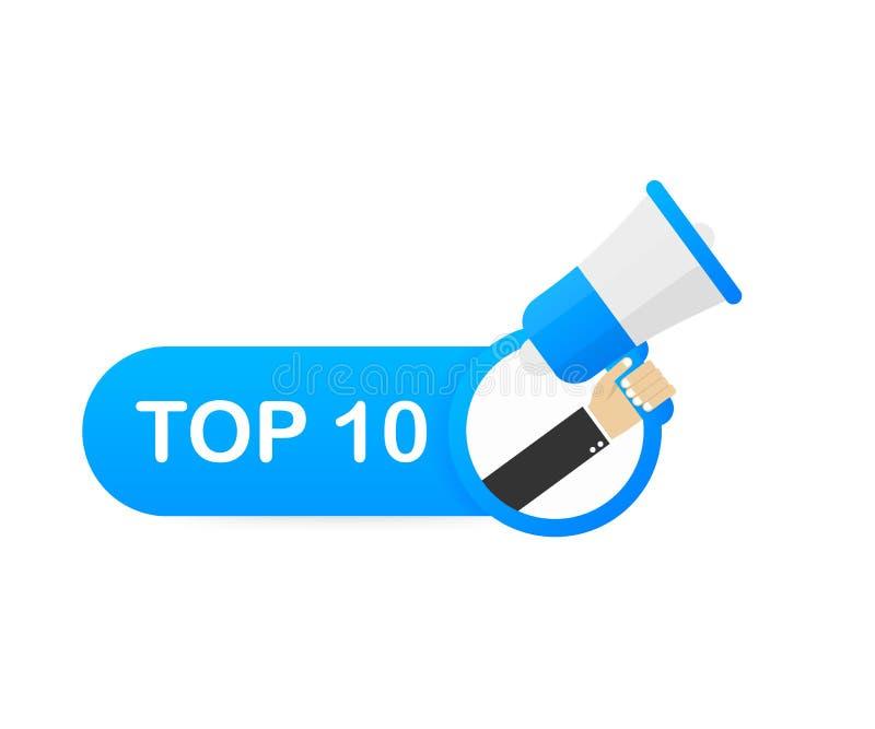 Mano del megafono, concetto di affari con il principale 10 del testo Illustrazione di riserva di vettore illustrazione di stock