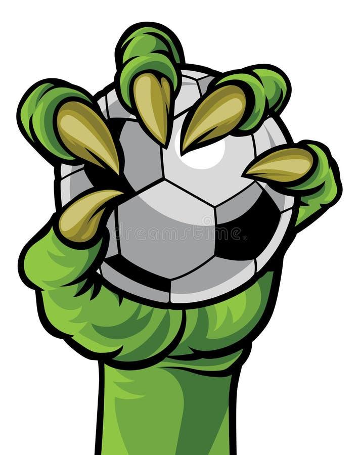 Mano del mostro dell'artiglio che tiene un pallone da calcio illustrazione vettoriale
