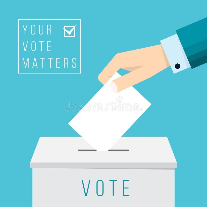 Mano del negocio que pone una votación en una urna stock de ilustración
