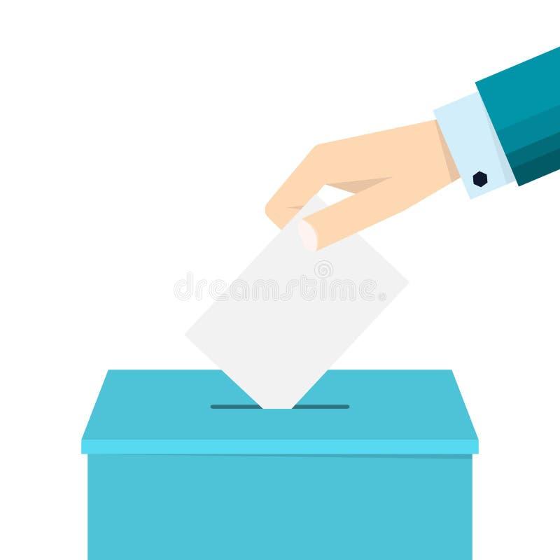 Mano del negocio que pone una votación en una urna libre illustration