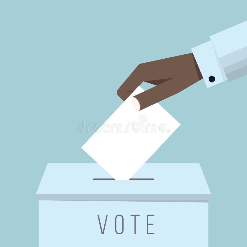 Mano del negocio que pone una votación en una urna ilustración del vector