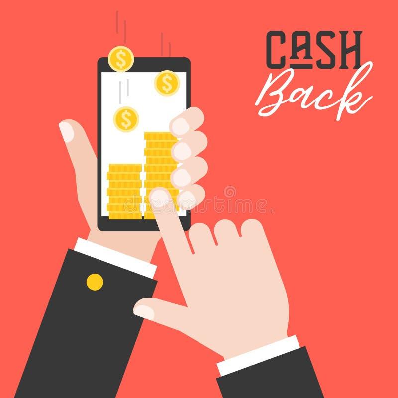 Mano del negocio que sostiene el teléfono elegante y conseguir la devolución de efectivo de applica ilustración del vector