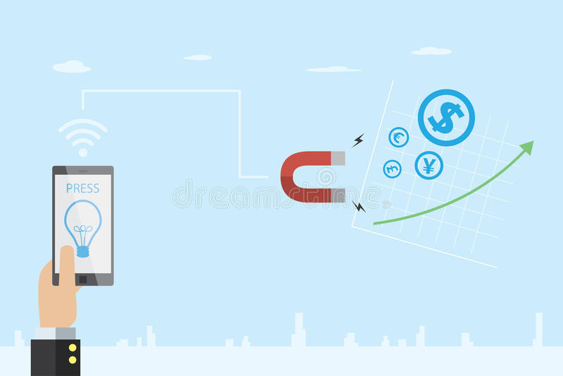 Mano del negocio que sostiene el teléfono móvil con símbolo de la bombilla e imán de la herradura a atraer el icono y acción de l ilustración del vector
