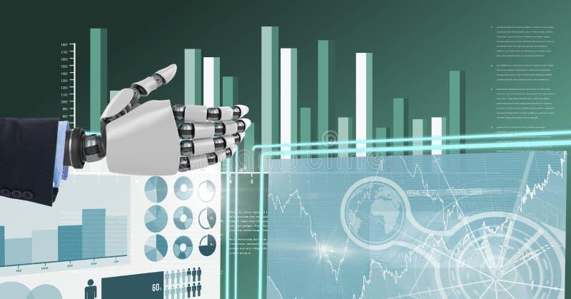 Mano del negocio del robot que obra recíprocamente con los paneles del interfaz de la tecnología stock de ilustración