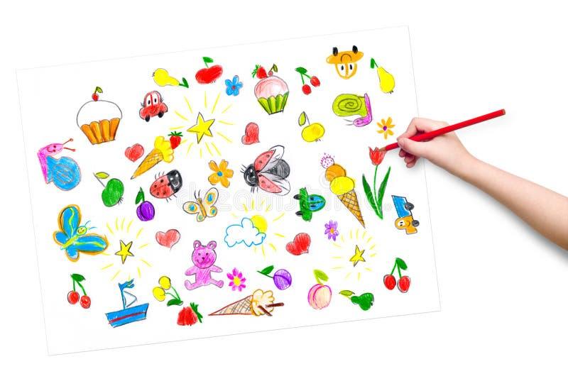 Mano del niño con drenaje del lápiz una imagen stock de ilustración