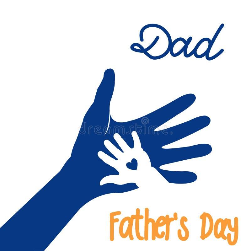Mano del niño y padre o padre Tarjeta de felicitaci?n feliz del d?a del ` s del padre libre illustration