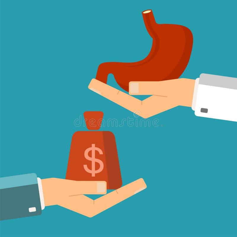 Mano del paciente con el dinero y un estómago humano en manos del doctor ilustración del vector