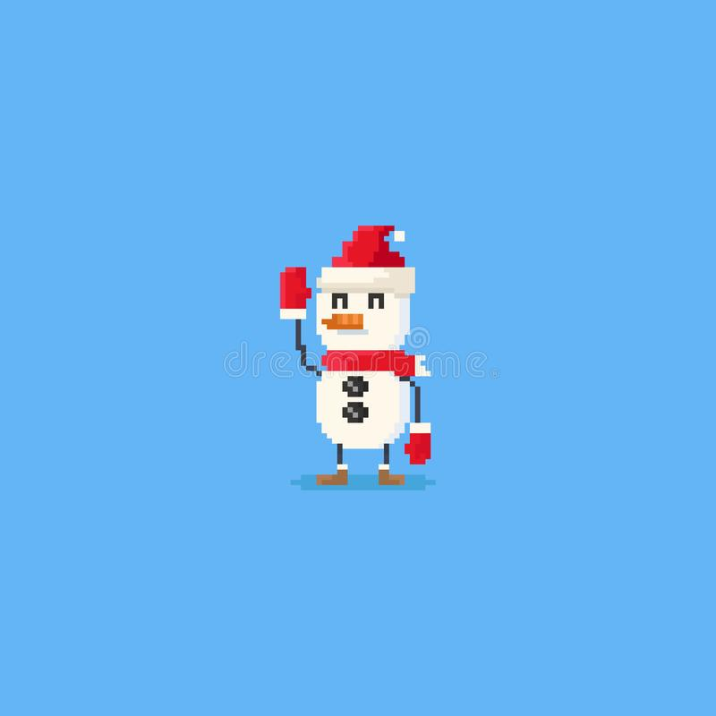 Mano del pixel encima del carácter del muñeco de nieve 8bit ilustración del vector