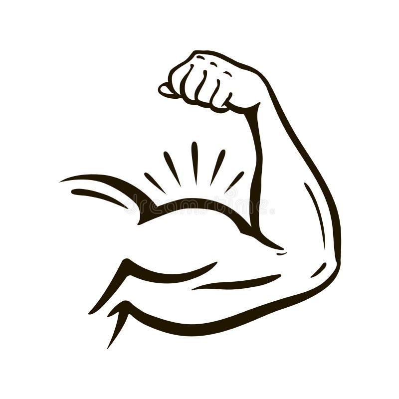 Mano del poder, brazo muscular, bíceps Gimnasio, lucha, powerlifting, levantamiento de pesas, campeón, símbolo del deporte Ilustr ilustración del vector