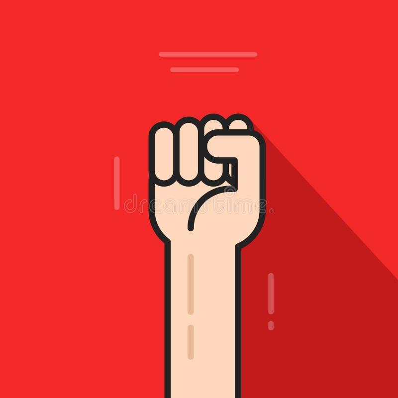 Mano del puño para arriba, idea del logotipo de la revolución, símbolo de la libertad, concepto soviético stock de ilustración