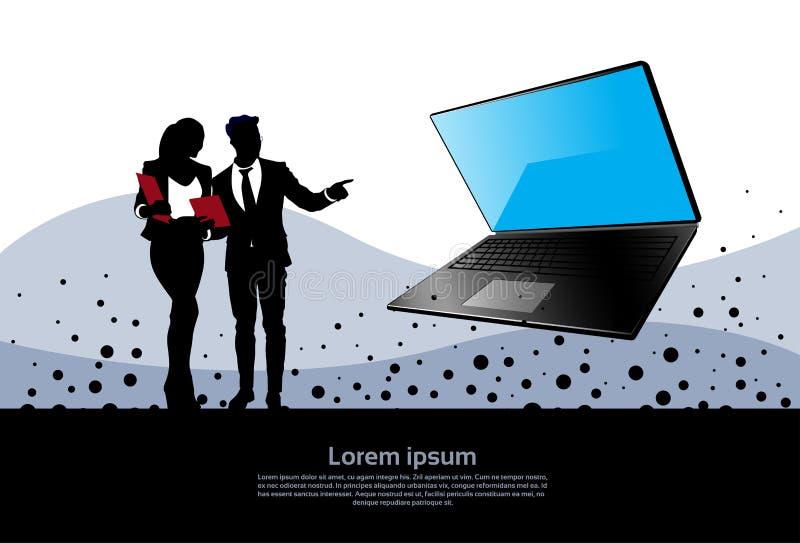 Mano del punto del hombre y de la mujer de negocios de la silueta al ordenador portátil libre illustration