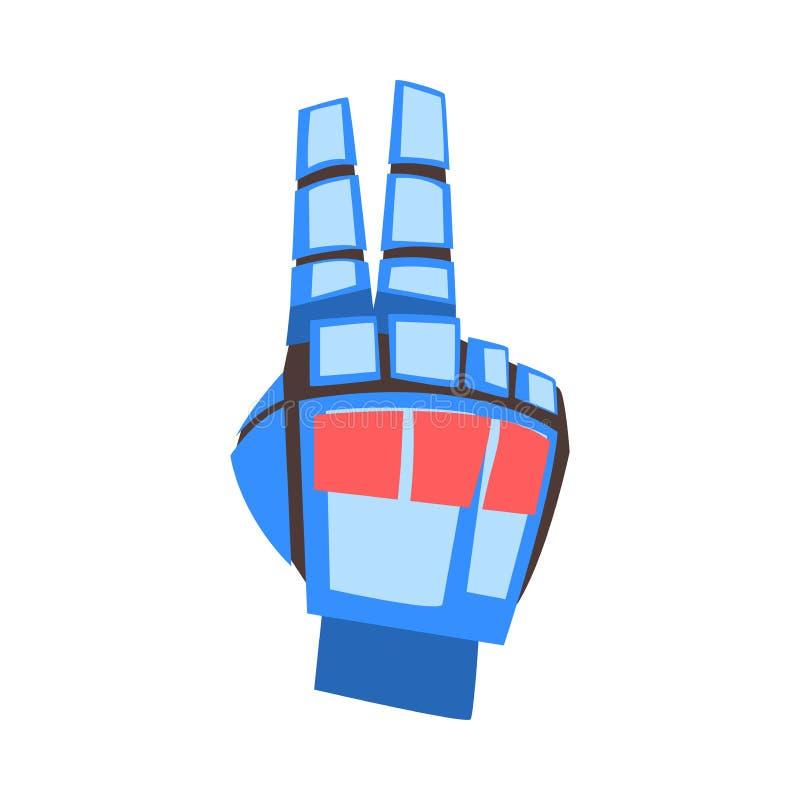 Mano del robot che mostra Victory Peace Sign Gesture, palma meccanica Gesturing, illustrazione di vettore di intelligenza artific illustrazione di stock