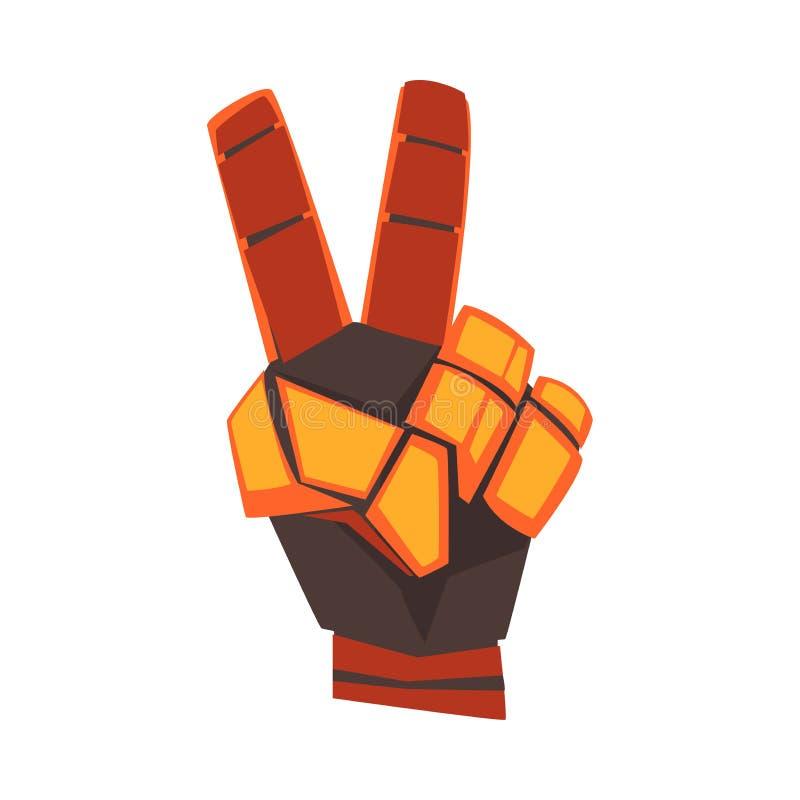 Mano del robot che mostra Victory Sign Gesture, palma meccanica arancio Gesturing, illustrazione di vettore di intelligenza artif illustrazione di stock